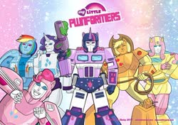 Size: 700x493   Tagged: safe, artist:lizstaley, applejack, fluttershy, pinkie pie, rainbow dash, rarity, spike, twilight sparkle, arcee, bumblebee (transformers), crossover, hot rod, implied spike, ironhide, lasso, mane six, optimus prime, rope, slingshot (transformers), springer, sunstreaker, transformerfied, transformers