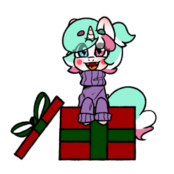 Size: 700x700   Tagged: safe, artist:cottonsweets, oc, oc only, oc:cottonsweet, candy pony, cat, cat pony, food pony, original species, pony, unicorn, bubblegum, clothes, commission, cute, eye clipping through hair, food, gum, marshmallow, present, simple background, solo, sweater, transparent background, your character here