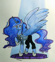 Size: 710x806 | Tagged: safe, artist:puttonous, princess luna, alicorn, fanfic:enemy of mine, alternate accessories, badge, clothes, crown, description is relevant, ethereal mane, fanfic, fanfic art, horn, horn ring, implied shipping, jewelry, pants, raised hoof, regalia, ring, signature, solo, sparkles, spotlight, spread wings, suit, traditional art, wedding ring, wings