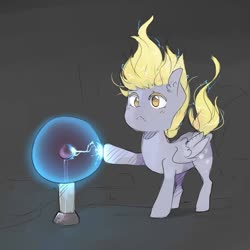 Size: 1024x1024 | Tagged: safe, artist:katemaximova, derpy hooves, pegasus, pony, slice of life (episode), :<, black background, cute, derpabetes, ear fluff, electricity, female, mare, plasma ball, scene interpretation, simple background, solo, static