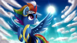 Size: 4800x2700 | Tagged: safe, artist:darksly, rainbow dash, pegasus, pony, alternate hairstyle, clothes, cloud, crepuscular rays, cute, dashabetes, female, goggles, high res, mare, older, older rainbow dash, sky, solo, spread wings, sun, uniform, wings, wonderbolts, wonderbolts uniform