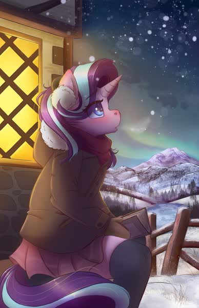 Size: 2650x4096 | Tagged: safe, artist:ardail, starlight glimmer, anthro, unicorn, aurora borealis, blushing, book, clothes, cute, eye clipping through hair, featured image, female, fence, glimmerbetes, high res, jacket, mare, miniskirt, mountain, pleated skirt, profile, scarf, sitting, skirt, sky, snow, snowfall, socks, solo, thigh highs, visible breath, winter, winter coat, zettai ryouiki