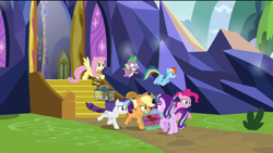 Size: 1920x1080 | Tagged: safe, screencap, applejack, fluttershy, pinkie pie, rainbow dash, rarity, spike, starlight glimmer, twilight sparkle, alicorn, bird, dragon, earth pony, hummingbird, pegasus, spider, star spider, unicorn, the last problem, spoiler:s09e26, cage, confused, female, flying, male, mane seven, mane six, mare, running, scared, twilight sparkle (alicorn), twilight's castle, winged spike