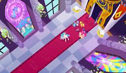 Size: 1280x738 | Tagged: safe, screencap, applejack, discord, fluttershy, nightmare moon, pinkie pie, princess celestia, princess luna, rainbow dash, rarity, twilight sparkle, alicorn, earth pony, pegasus, unicorn, the return of harmony, angry, carpet, door, flower, mane six, pillar, stained glass, statue