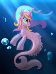 Size: 1600x2100 | Tagged: safe, artist:angiepeggy2114, oc, oc only, oc:evening light, seapony (g4), unicorn, bubble, female, light rays, mare, solo, underwater