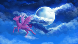 Size: 1920x1080 | Tagged: safe, artist:eternalsubscriber, firefly, bow, cloud, eyes closed, flying, full moon, g1, moon, night, signature, smiling, solo, tail bow