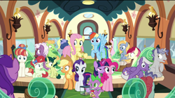 Size: 1920x1080 | Tagged: safe, screencap, amethyst star, applejack, dawnlighter, derpy hooves, fluttershy, goldy wings, green sprout, loganberry, midnight snack (character), peppe ronnie, pinkie pie, rainberry, rainbow dash, rainbow stars, rarity, roseluck, silver script, sparkler, spike, star bright, tank, tender brush, twilight sparkle, winter lotus, alicorn, dragon, earth pony, pegasus, pony, spider, star spider, unicorn, the last problem, spoiler:s09e26, background pony, colt, faic, female, filly, friendship student, male, mane seven, mane six, mare, shocked, stallion, surprised, train, twilight sparkle (alicorn), winged spike