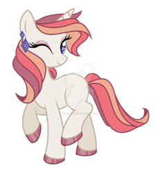 Size: 600x650 | Tagged: safe, artist:ipandacakes, oc, pony, unicorn, deviantart watermark, female, magical lesbian spawn, mare, obtrusive watermark, offspring, one eye closed, parent:rarity, parent:sunset shimmer, parents:rarishimmer, simple background, solo, transparent background, watermark, wink