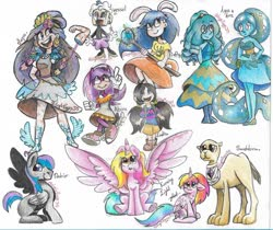 Size: 1280x1073 | Tagged: safe, artist:angiepeggy2114, oc, oc:destrier, oc:evening light, alicorn, camel, human, pegasus, pony, alicorn oc, clothes, cuphead, deviantart watermark, dress, female, magic wand, male, mare, obtrusive watermark, sketch, sketch dump, sonic the hedgehog (series), stallion, star vs the forces of evil, steven universe, traditional art, undertale, watermark