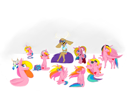 Size: 2645x2267 | Tagged: safe, artist:angiepeggy2114, oc, oc only, oc:evening light, alicorn, anthro, pony, alicorn oc, anthro with ponies, beret, braided tail, clothes, female, glasses, hat, mare, multeity, shrug, simple background, sitting, socks, striped socks, transparent background