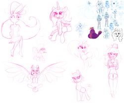 Size: 2645x2267 | Tagged: safe, artist:angiepeggy2114, oc, oc only, oc:evening light, alicorn, anthro, bird, cyclops, earth pony, human, jackalope, owl, pegasus, pony, rabbit, unicorn, alicorn oc, animal, anthro with ponies, braided tail, clothes, dress, female, fez, hat, lineart, magic staff, mare, monster, sketch, sketch dump, smiling, spread wings, winged human, wings