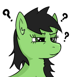 Size: 800x800 | Tagged: safe, artist:anonymous, oc, oc only, oc:filly anon, earth pony, pony, /mlp/, bust, ear fluff, female, filly, portrait, question mark, simple background, solo, transparent background