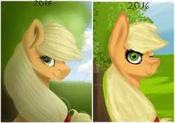 Size: 1024x721 | Tagged: safe, artist:tinatina-8, applejack, earth pony, pony, art evolution, bust, comparison, looking at you, obtrusive watermark, one eye closed, redraw, solo, tree, watermark, wink
