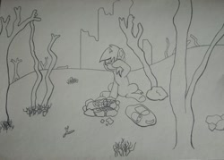 Size: 1280x914   Tagged: safe, artist:augjodo, oc, oc:littlepip, pony, unicorn, fallout equestria, backpack, female, mare, sitting, tired, traditional art, wasteland