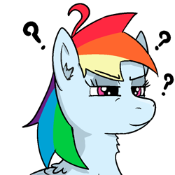 Size: 800x800 | Tagged: safe, artist:anonymous, rainbow dash, pegasus, pony, ear fluff, eyelashes, question mark, simple background, solo, transparent background