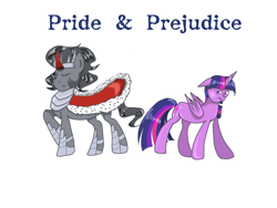Size: 2296x1722 | Tagged: safe, artist:wimple, king sombra, twilight sparkle, alicorn, pony, female, male, pride and prejudice, shipping, straight, twibra, twilight sparkle (alicorn)