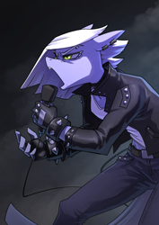 Size: 2480x3508 | Tagged: safe, artist:underpable, limestone pie, anthro, chains, clothes, dark background, female, fingerless gloves, gloves, jacket, jeans, leather gloves, leather jacket, microphone, open mouth, pants, piercing, punk, singing, solo, spiked wristband, wristband