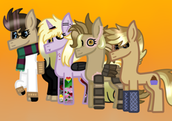 Size: 1000x700 | Tagged: safe, artist:lightningbolt39, dinky hooves, oc, oc:clockwork (ice1517), oc:time liz, oc:tinker (ice1517), cyborg, earth pony, pegasus, pony, unicorn, icey-verse, amputee, artificial wings, augmented, aunt and nephew, aunt and niece, clothes, ear piercing, earring, female, fingerless gloves, glasses, gloves, horn, horn ring, jeans, jewelry, lip piercing, male, mare, nose piercing, offspring, oven mitts, pants, parent:derpy hooves, parent:doctor whooves, parents:doctorderpy, piercing, prosthetic limb, prosthetic wing, prosthetics, raised hoof, scarf, stallion, sweater, tattoo, wings