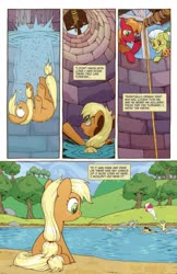 Size: 993x1528 | Tagged: safe, artist:caseycoller, idw, applejack, big macintosh, granny smith, earth pony, pony, spoiler:comic, spoiler:comic85, beach ball, colt, comic, female, filly, foal, lake, male, mare, official comic, preview, speech bubble, well, younger