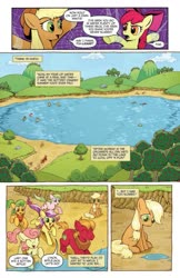 Size: 993x1528   Tagged: safe, artist:caseycoller, idw, apple bloom, apple bumpkin, applejack, big macintosh, gala appleby, lavender fritter, red gala, earth pony, pony, spoiler:comic, spoiler:comic85, apple, apple family member, apple tree, colt, comic, female, filly, foal, lake, male, official comic, speech bubble, tree, younger