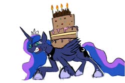 Size: 1049x700 | Tagged: safe, artist:jellymaggot, princess luna, alicorn, pony, /mlp/, 4chan, cake, carrying, drawthread, food, heavy, simple background, solo, struggling, white background