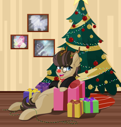 Size: 3024x3172 | Tagged: safe, artist:angelina-pax, applejack, pinkie pie, princess luna, spirit of hearth's warming past, spirit of hearth's warming presents, spirit of hearth's warming yet to come, oc, oc:time liz, alicorn, earth pony, pony, antlers, blank flank, christmas, christmas lights, christmas tree, clothes, coat, collar, fake antlers, female, glasses, holiday, holly, holly mistaken for mistletoe, mare, marefemale, present, red nose, tree, ych result