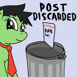 Size: 800x800 | Tagged: safe, artist:anonymous, oc, oc only, oc:filly anon, earth pony, pony, (you), /mlp/, drawthread, female, filly, into the trash it goes, meme, necktie, ponified, smiling, smirk, solo, trash can