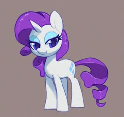 Size: 1500x1423 | Tagged: safe, artist:dawnfire, rarity, pony, unicorn, colored pupils, cute, female, full body, gray background, looking at you, mare, raribetes, signature, simple background, solo, standing