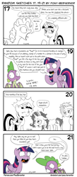 Size: 1320x3035 | Tagged: safe, artist:pony-berserker, spike, starlight glimmer, trixie, twilight sparkle, alicorn, dragon, pony, unicorn, comic, hangover, happy new year, happy new year 2020, holiday, i can't believe it's not idw, implied hangover, monochrome, new year, new year's resolution, pony-berserker's twitter sketches, rick and morty, rick sanchez, signature, sketch, speech bubble, tired, twilight sparkle (alicorn), twirick, winged spike