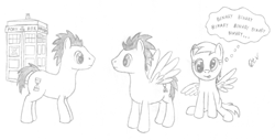Size: 700x355 | Tagged: safe, artist:quint-t-w, derpy hooves, doctor whooves, time turner, earth pony, pegasus, pony, crossover, doctor who, looking at each other, old art, pencil drawing, simple background, tardis, tenth doctor, thought bubble, traditional art, white background