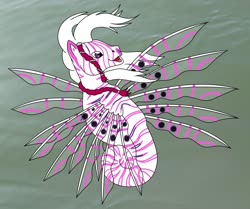 Size: 2265x1890 | Tagged: safe, artist:chili19, oc, oc only, sea pony, lionfish, solo, underwater