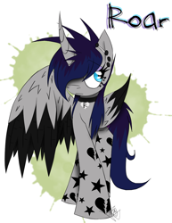 Size: 888x1150   Tagged: safe, artist:didun850, oc, oc only, oc:roar, alicorn, pony, abstract background, alicorn oc, collar, female, hair over one eye, horn, horn piercing, jewelry, mare, necklace, one wing out, piercing, signature, solo, wings