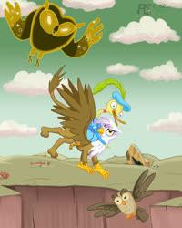 Size: 765x956 | Tagged: safe, artist:kelseyleah, gilda, owlowiscious, adventure time, choose goose, cosmic owl