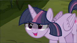 Size: 1670x940 | Tagged: safe, screencap, mean twilight sparkle, the mean 6, cropped, kubrick stare, open mouth, sinister, solo
