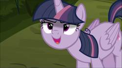 Size: 1669x938 | Tagged: safe, screencap, mean twilight sparkle, the mean 6, cropped, kubrick stare, open mouth, sinister, solo