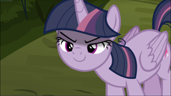 Size: 1670x939 | Tagged: safe, screencap, mean twilight sparkle, the mean 6, cropped, evil grin, grin, kubrick stare, lidded eyes, sinister, smiling, solo