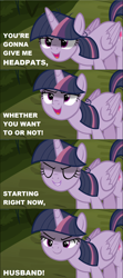 Size: 1280x2872 | Tagged: safe, edit, edited screencap, screencap, mean twilight sparkle, the mean 6, caption, cropped, evil grin, eyes closed, grin, image macro, kubrick stare, lidded eyes, meme, open mouth, pure unfiltered evil, sinister, smiling, solo, text