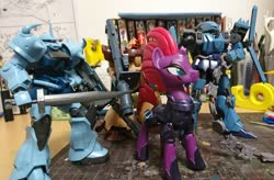 Size: 2048x1340 | Tagged: safe, artist:omegapony16, tempest shadow, pony, unicorn, armor, book, broken horn, dom tropen desert type, eye scar, female, gouf custom, gundam, hoof shoes, horn, irl, mare, mecha, neo zeon, photo, rocket launcher, scar, schuzrum gallus, sword, the sleeves, toy, weapon