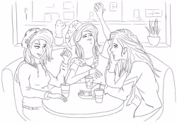 Size: 4961x3508 | Tagged: safe, artist:shyinka, starlight glimmer, sunset shimmer, trixie, human, equestria girls, beanie, cactus, cape, chatting, clothes, diner, eating, eyebrow piercing, fast food, food, french fries, friendship, gesture, group photo, group picture, group shot, hat, hoodie, humanized, jacket, leather jacket, lineart, lip piercing, lunch, piercing, plant, silly, silly face, sitting, soda, wizard hat