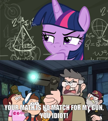 Size: 1663x1865 | Tagged: safe, edit, edited screencap, screencap, twilight sparkle, alicorn, pony, sparkle's seven, spoiler:s09e04, caption, chalkboard, comic, dipper pines, dungeons dungeons and more dungeons, fancy mathematics, female, ford pines, glow, gravity falls, grenda, grunkle stan, gun, image macro, impact font, mabel pines, mare, math, meme, raised eyebrow, raised hoof, screencap comic, text, thinking, twilight sparkle (alicorn), weapon, written equestrian