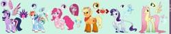 Size: 2048x410 | Tagged: safe, artist:facadagay, applejack, fluttershy, pinkie pie, rainbow dash, rarity, twilight sparkle, alicorn, earth pony, pegasus, pony, unicorn, leak, spoiler:g5, applejack (g5), coat markings, colored wings, cutie mark, female, fluttershy (g5), g5, hooves, horn, magic, magic aura, mane six, mane six (g5), pinkamena diane pie, pinkie pie (g5), rainbow dash (g5), rarity (g5), redesign, simple background, twilight sparkle (alicorn), twilight sparkle (g5), wings