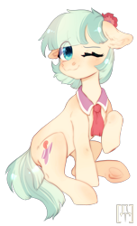 Size: 1829x3000 | Tagged: safe, artist:rizzych, coco pommel, earth pony, pony, eye clipping through hair, female, floppy ears, high res, mare, one eye closed, raised leg, simple background, sitting, solo, transparent background, wavy mouth