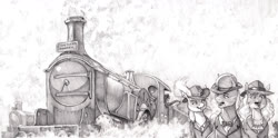 Size: 1700x841 | Tagged: safe, artist:baron engel, oc, oc:carousel, oc:petina, oc:sky brush, earth pony, pegasus, unicorn, female, male, mare, monochrome, pencil drawing, stallion, story included, traditional art, train