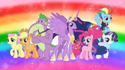 Size: 5360x3008 | Tagged: safe, artist:andoanimalia, applejack, fluttershy, pinkie pie, rainbow dash, rarity, spike, twilight sparkle, alicorn, dragon, earth pony, pegasus, pony, unicorn, the last problem, spoiler:s09e26, absurd resolution, buff spike, jewelry, looking at you, mane seven, mane six, older, older applejack, older fluttershy, older mane 6, older mane 7, older pinkie pie, older rainbow dash, older rarity, older spike, older twilight, princess twilight 2.0, rainbow background, regalia, twilight sparkle (alicorn), winged spike