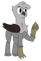 Size: 1536x2248 | Tagged: safe, artist:the_laundry, derpibooru exclusive, oc, oc only, griffon, coin, simple background, solo, transparent background