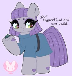 Size: 2865x3000 | Tagged: safe, artist:bunxl, boulder (pet), maud pie, earth pony, pony, adhd, clothes, cute, heart, heart eyes, high res, hoof hold, looking at you, maudabetes, positive ponies, simple background, smiling, solo, starry eyes, truth, when she smiles, wingding eyes