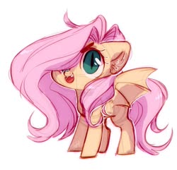 Size: 1119x1080 | Tagged: safe, artist:frgtmenot_mind, fluttershy, bat pony, bat ponified, chibi, cute, ear fluff, female, flutterbat, hair over one eye, open mouth, race swap, shyabates, shyabetes, simple background, slit pupils, solo, white background