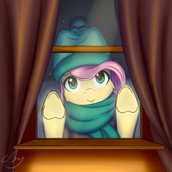 Size: 2158x2157 | Tagged: safe, artist:cluvry, fluttershy, pony, against glass, cheek fluff, clothes, cute, glass, hat, heart, heart hoof, high res, looking at you, scarf, shyabetes, snow, snowfall, solo, underhoof