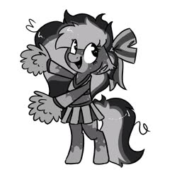 Size: 1500x1500 | Tagged: safe, artist:northwindsmlp, oc, oc only, oc:chocolate milk, earth pony, pony, cheerleader, cheerleader outfit, clothes, floppy ears, monochrome, pom pom, simple background, skirt, solo, white background