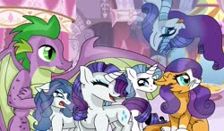 Size: 2353x1386 | Tagged: safe, artist:artisticcupcakezz, rarity, spike, oc, oc:diamond twinkle, oc:gleaming gem, oc:lapis lazuli, oc:razzle dazzle, dracony, dragon, hybrid, unicorn, carousel boutique, colt, family, female, filly, half-siblings, interspecies offspring, male, offspring, older, older spike, parent:capper, parent:fancypants, parent:rarity, parent:spike, parents:capperity, parents:raripants, parents:sparity, shipping, sparity, straight, winged spike